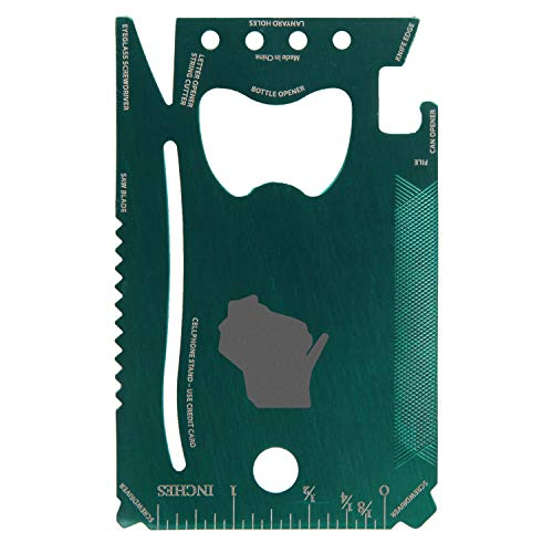 Wisconsin Engraved Green Wallet Multitool Card With 12 Functions - Portable Survival Multitool Card - Card Wallet Tool For Party Favor Or Gift