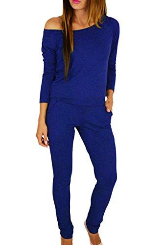 ladies Elegant Boat Neck Long Sleeve Skinny Club Jumpsuit Romper Pant Suit 2xl
