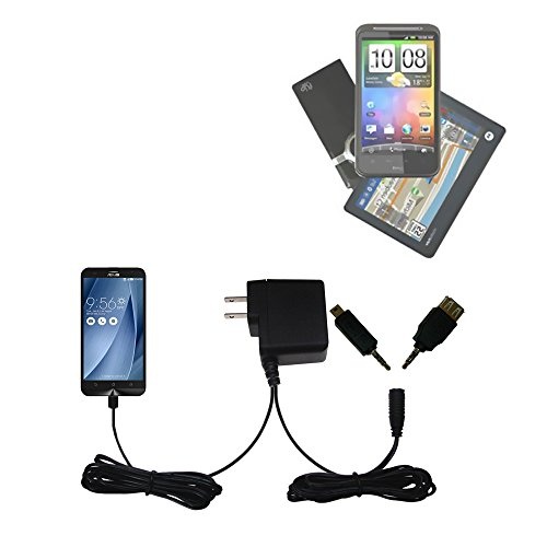 Gomadic Multi Port AC Home Wall Charger designed for the Asus ZenFone 2 Laser - Uses TipExchange to charge up to two devices at once by Gomadic