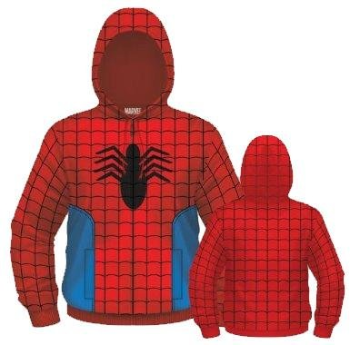 Marvel Comics Mens Spiderman Costume Hoodie Spidey Suit On (Large)