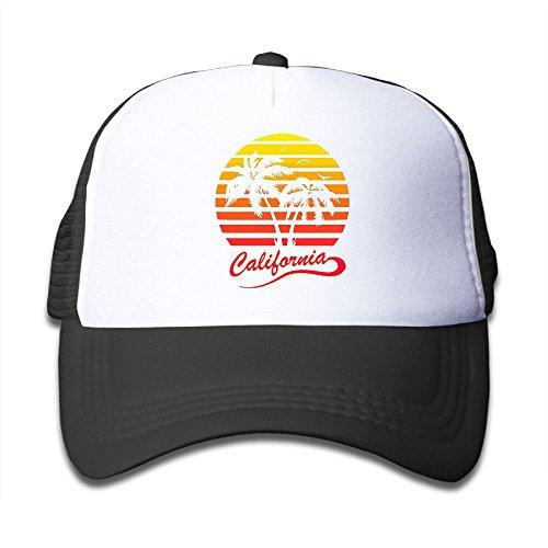 POH08dg Youth Boy and Girls Baseball Caps,California 80s Sunset Mesh Hat Printing Trucker Hat