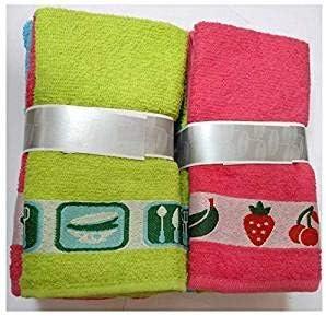 ZD Paños de Cocina RIZO 100% Algodón Con Dibujo Bordado,Multicolor,Pack 12