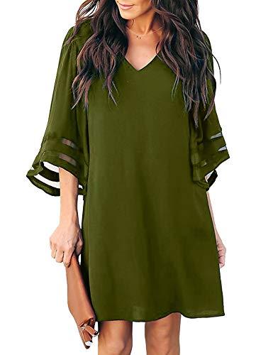 (MIJIRUSHI Womens Bell Sleeve V Neck Mesh Patchwork Casual Loose Swing Chiffon Shift Mini Dress, Army Green, S)