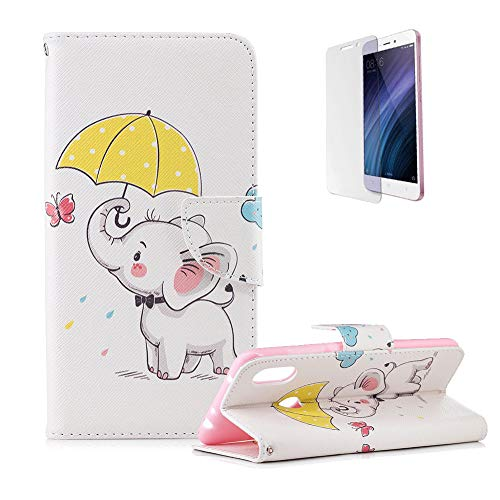 Price comparison product image Funyye Premium Wallet Leather Case for Xiaomi Redmi Note 6,Cute Elephant Pattern Magnetic Flip with Stand Credit Card Holder Slots Silicone PU Leather Case for Xiaomi Redmi Note 6