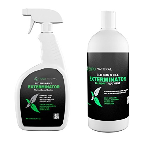 Hygea Natural Exterminator Combo Pack, Non Toxic Treatment, Natural Bugs & Lice Eradicator, Includes Spray 24 oz & Laundry Treatment 32 ()