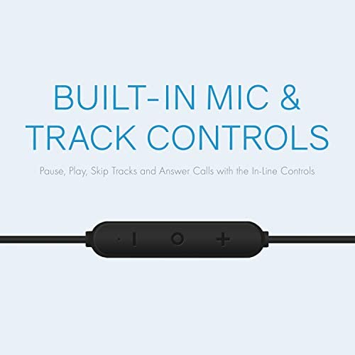 Realm Lightning Earbuds Apple MFi Certified Headphones, in-Ear Headphones with Lightning Connector, Built-in Microphone, Hands-Free Calling and Track Controls, Black