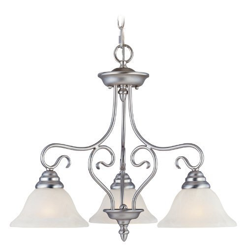 Livex Lighting 6133-91 Coronado 3 Light Brushed Nickel Chain Hung / Flush Mount Chandelier with White Alabaster Glass by Livex Lighting