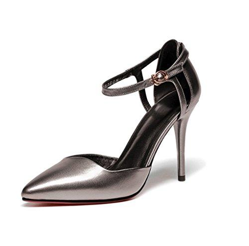 Pointus Creuse Unis Silver pour Femmes Chaussures et Gun Talons l'europe Color LBDX Boucle Les de Cuir Printemps 39 Couleur et Taille été États en Mode véritable Hauts vxRAwBUBq