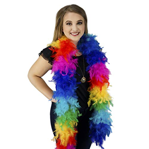 Chandelle Light Up Feather Boa - Rainbow LED Fairy Light Costume Accessory ()