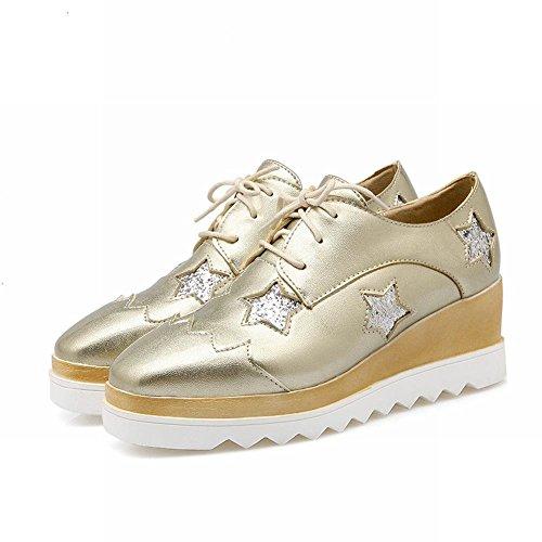 Mee Shoes Damen modern bequem süß vierkant Durchgängiges Plateau mit Stern Pailletten Geschlossen Schnürhalbschuhe Gold