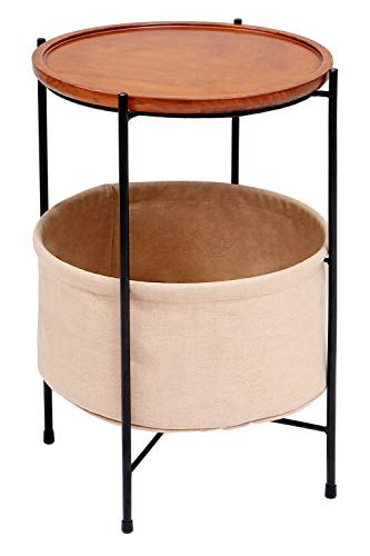 Round Wood End Side Table Nightstand with Fabric Storage Basket for Living Room Bedroom, Khaki