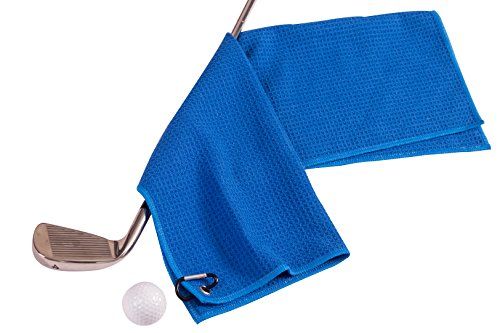 Microfiber Deep Waffle Weave Golf Towel 2 pack,Light Weight & Quick Drying. Best for Cleaning all types of Clubs, Irons & Drivers.(Blue & Gray 16''x21'') by DVlente (Image #3)