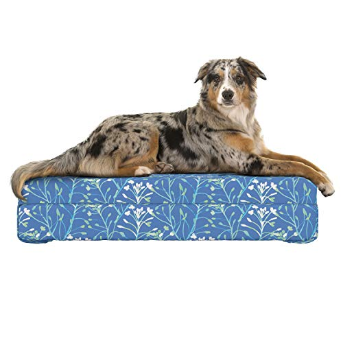 Lunarable Paint Dog Bed, Floral Watercolor Pattern with Wildflowers and Leaves Vintage Inspirations, Dog Pillow with High Resilience Visco Foam for Pets, 32