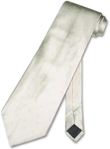 100% SILK NeckTie Cream w/ Small Pattern Design Men's Neck Tie
