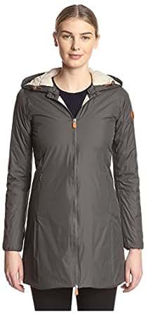 Save the Duck Women's Long Coat, Grey, 4/XL