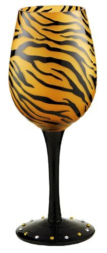 - Bottom's Up 15-Ounce Tiger Gold Handpainted Wine Glass