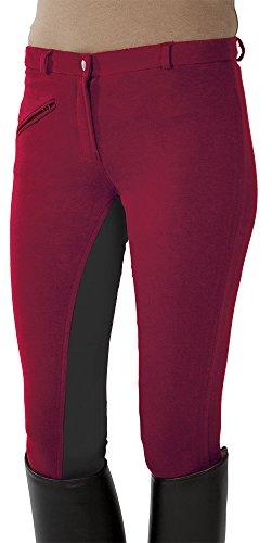 PFIFF Damen Reithose Vollbesatzhose, Rot/Grau, 38, 101197-74