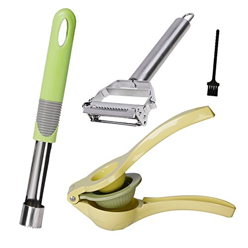 Besula 4 In 1 Premium Quality Home Accessories Package For Your Kitchen – Lemon Squeezer, Vegetable Peeler, Apple Corer,Cleaning Brush – A Durable 4 Set Package That Will Make Food Prep Easy