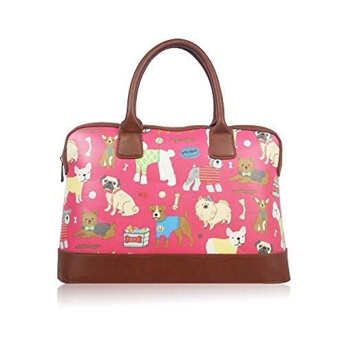 Dogs Rubber Bag Womens Ladies Weekend Travel Bag Hand Shoulder Bag Rose Woman
