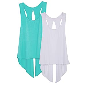 icyzone Sexy Yoga Tops Workout Clothes Racerback Tank Top For Sport Women (S, Pool Blue/White)
