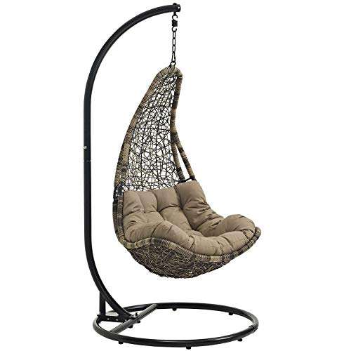 Modway EEI-2657-BLK-MOC-SET Abate Wicker Rattan Outdoor Patio Balcony Porch Lounge Swing Chair Set with Hanging Steel Chain Black Mocha