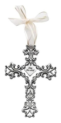 5 Inches High, Pewter White Filigree Bless This Child Wall Cross