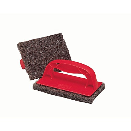 3M Scotch-Brite Red Plastic Grill And Griddle Scrubber - 6'' L x 4'' W x 3'' H by 3 M FOOD SERVICE TRADE DEPT