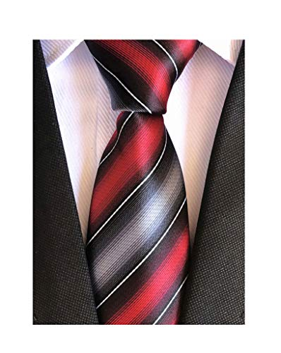 Elfeves Men's Modern Striped Patterned Formal Ties College Daily Woven Neckties (One Size, Deep Red Grey)