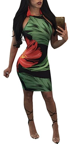 Aro Lora Partie Florale Moulantes Sexy Imprimé Femmes Mini Moulante Multicolore Robe