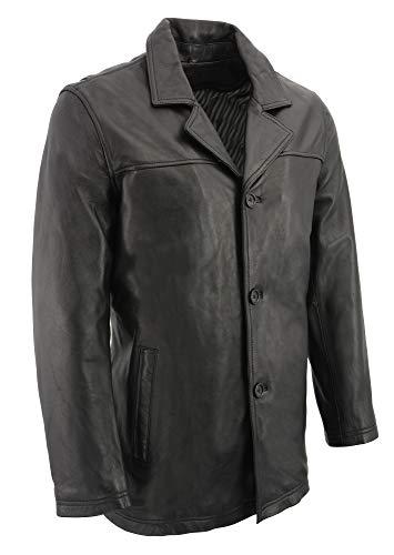 (M-BOSS-Men's Classic Four Button Front car coat-BLACK-2X)