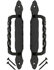 KOTARBAU® Deurgreep 190 mm 2 st. Smeedijzeren deurkruk handvat zwart deurkruk stalen deurkruk handvat deurbeslag schuifdeur meubelgreep