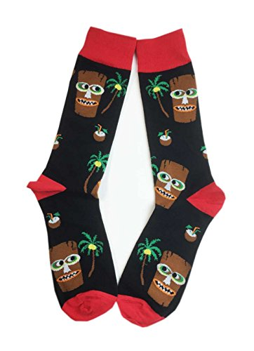 Aesthetinc Men Hawaii Tropical Tiki and Pina Colada Novelty Cotton Crew Socks
