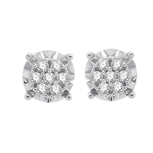 0.14 Ct Round Cut Natural Diamond Solid 14K White Gold Stud (Diamond Solid 14k Gold Stud)