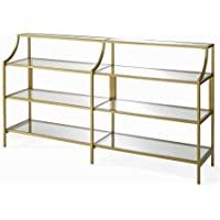 Elegant Metallic Gold Console Table with Safety-tempered Glass