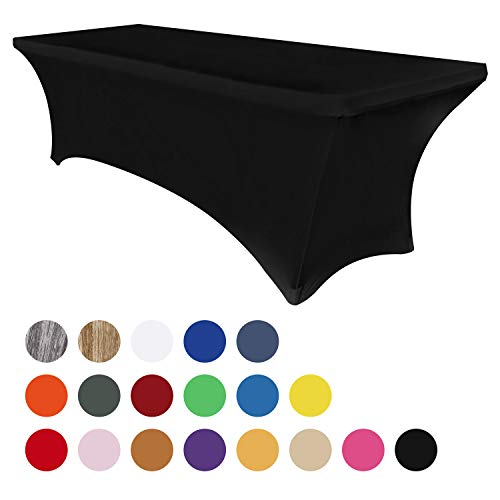 Obstal 4ft Stretch Spandex Table Cover for Standard Folding Tables - Universal Rectangular Fitted Tablecloth Protector for Wedding, Banquet and Party (Black, 48 Length x 24 Width x 30 Height Inches)
