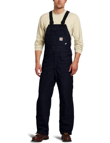 Carhartt Men's Flame Resistant Duck Bib Overall,Dark Navy (Closeout),30 x 32
