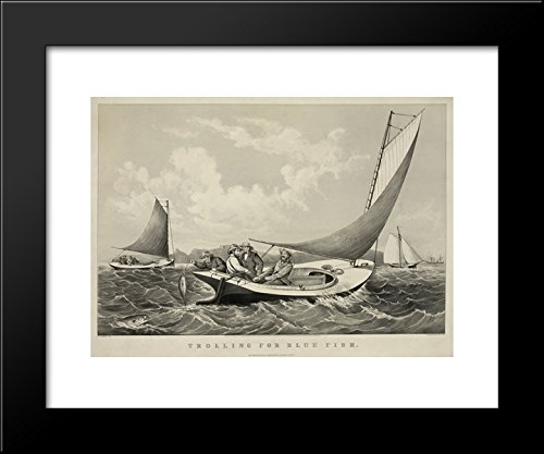 - Trolling for blue fish 20x24 Framed Art Print by Currier and Ives