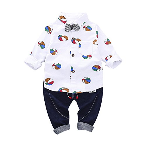 Little Boy Autumn SetsJchen(TM) Fashion New Style 2Pcs Infant Toddler Baby Boys Ballon Print Bow Long Sleeve Tops Shirt+Pants Outfits for 0-3 Years Old (Age: 18-24 Months, White) by Jchen Baby Sets