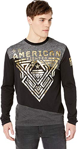 American Fighter Men's Mayville Long Sleeve Panel Tee Black/Heather Black - Fighter Panels