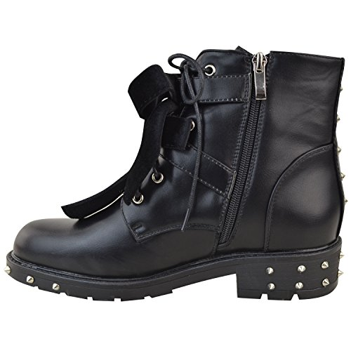 Lace Leather Size Thirsty New Goth Boots Studded Faux Straps Buckle Ladies Black Up Biker Shoes Fashion Flat Velvet Ankle Womens 6RqwnTqdxX