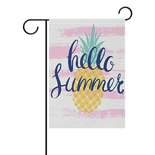 HOOSUNFlagrbfa Pineapple Hello Summer Decorative Garden Flag 12x18 inch Double Sided Yard Flag