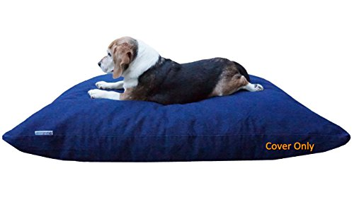 Dogbed4less Do It Yourself DIY Pet Bed Pillow Duvet Denim Cover with Waterproof Internal Case for Dog or Cat, Large 48X29 Blue Color - Covers only