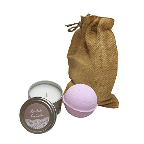 Cottage Lane Soy Candle and Jumbo Luxury Fizzy Bath Bomb Two Piece Aromatherapy Spa Set (Rose Petals)