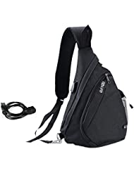 Vbiger Canvas Sling Backpack Crossbody Bag Hiking Daypack with USB Charging Port for Men Women
