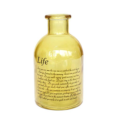 Flower Yellow Glass (Flowersea Decorative Frosted Glass Bottle Bud Vases for flowers, Modern Design with Life Poem (Laurel, Yellow))