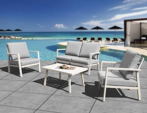 HL Patio Outdoor Aluminum Frame 4-Piece Cushioned Conversation Set with Coffee Table, Modern Chat Set Home Crested Bay Patio Furniture, White