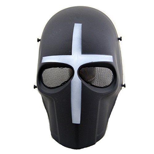 ATAIRSOFT Airsoft Mask Full Face Paintball Hockey BB Protective Mesh Mask White Cross