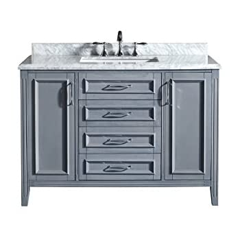Ove Decors Daniel 48 Gray Bathroom Vanity In Gray With Carrera Marble Vanity  Top, 48