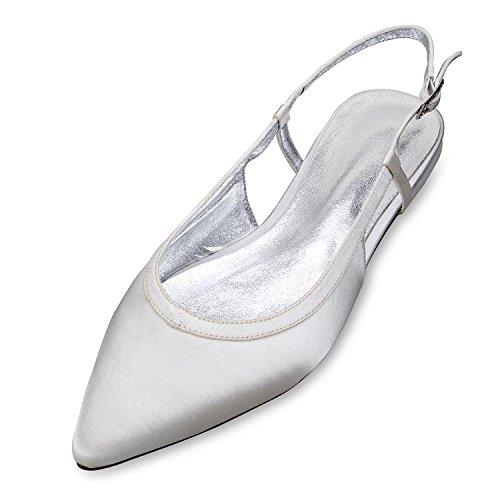 Del Pie yc Mujeres Seda Cerrado 5047 Marfil L La Dedo Sandalias Cancha 19 Boda De Zapato Las Zapatos Hecho Tamaño White Satén qPddXw7
