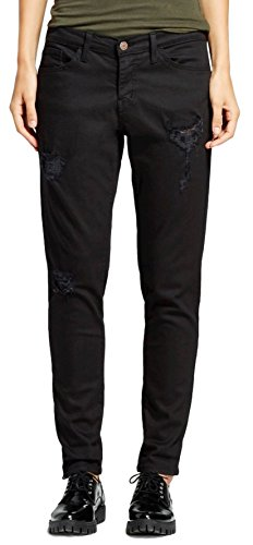 Vervet by Flying Monkey Women's Mid Rise Destructed Boyfriend Jean (29, Black) Boyfriend Cut Jeans